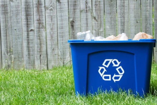 Blue Colored Recycling Bins