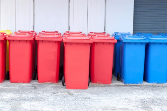 Red Colored Recycling Bins
