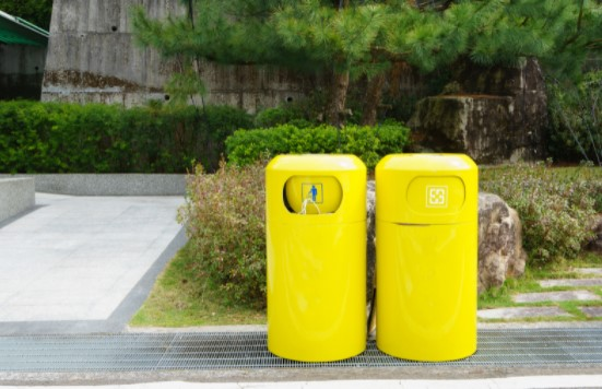 Yellow Colored Recycling Bins
